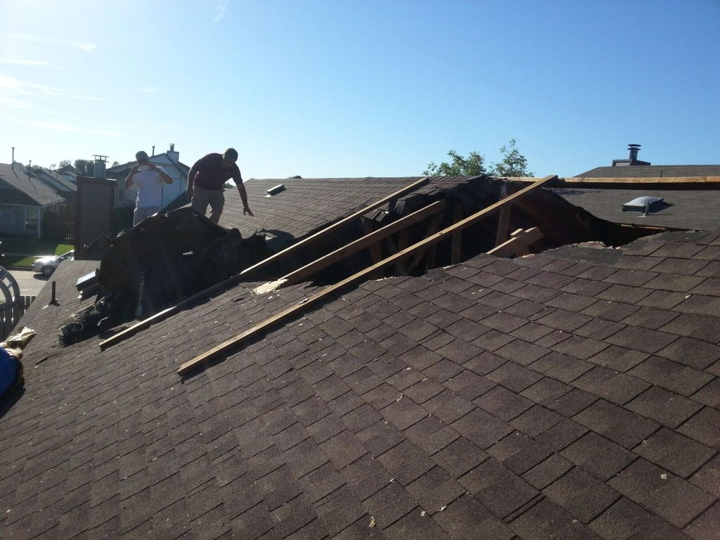 May roof tornado caused damage to a roof we are repairing